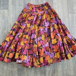Autumn Fall Leaf Maxi skirt - size small/medium